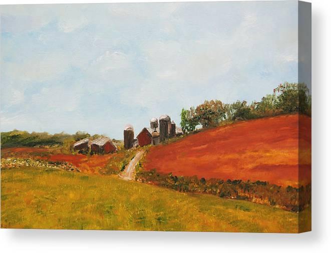Konkol Canvas Print featuring the painting Wisconsin Farm by Lisa Konkol
