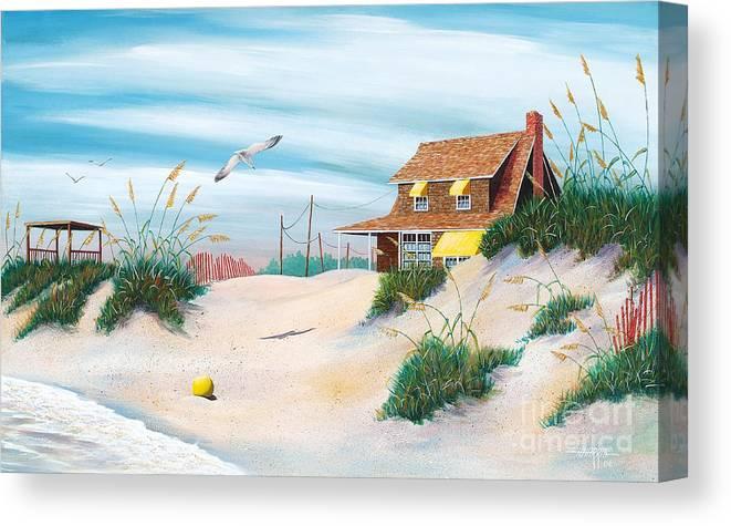 Beach Canvas Print featuring the painting Yellow Beach Ball by Hugh Harris