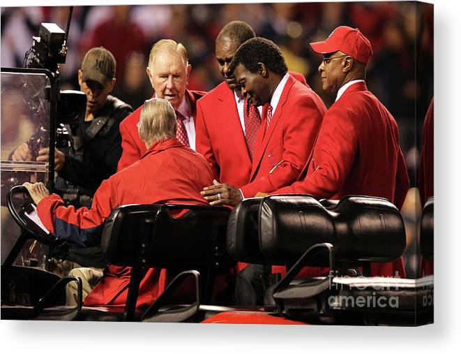Red Schoendienst Canvas Print featuring the photograph 2011 World Series Game 6 - Texas by Jamie Squire