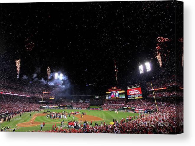 American League Baseball Canvas Print featuring the photograph 2011 World Series Game 7 - Texas by Doug Pensinger