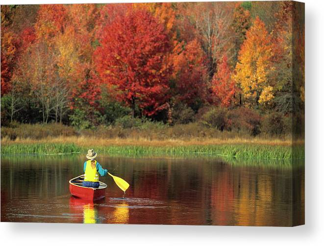 Tranquility Canvas Print featuring the photograph A Person Canoeing In Pennsylvania by Beck Photography