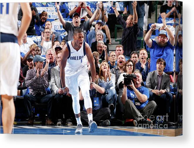 Nba Pro Basketball Canvas Print featuring the photograph Atlanta Hawks V Dallas Mavericks by Glenn James
