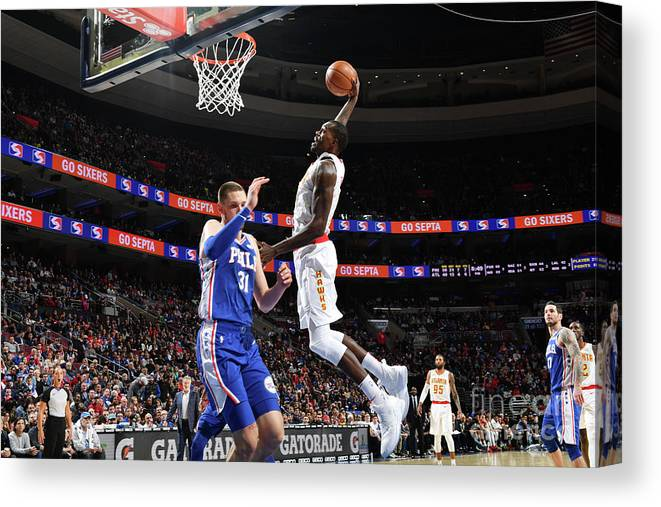 Nba Pro Basketball Canvas Print featuring the photograph Atlanta Hawks V Philadelphia 76ers by Jesse D. Garrabrant