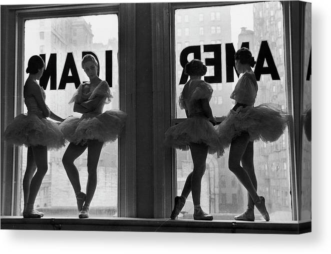 Ballet Dancer Canvas Print featuring the photograph Ballerinas Standing On Window Sill In by Alfred Eisenstaedt