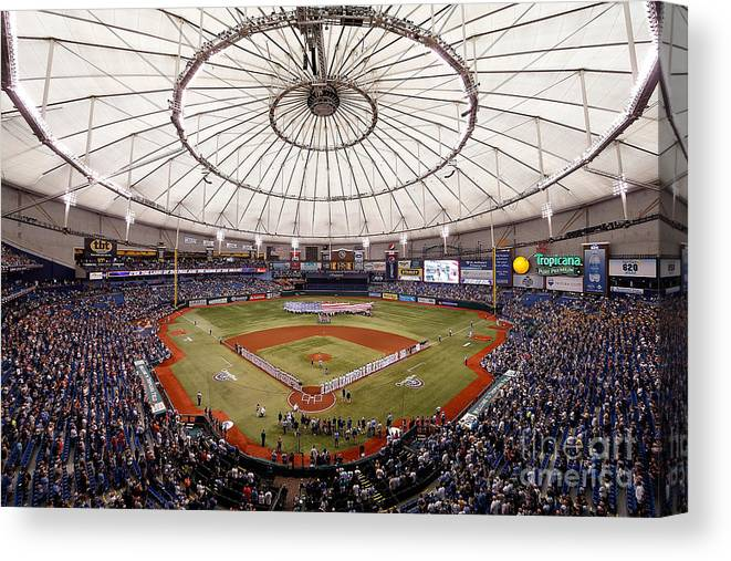 American League Baseball Canvas Print featuring the photograph Baltimore Orioles V Tampa Bay Rays by J. Meric