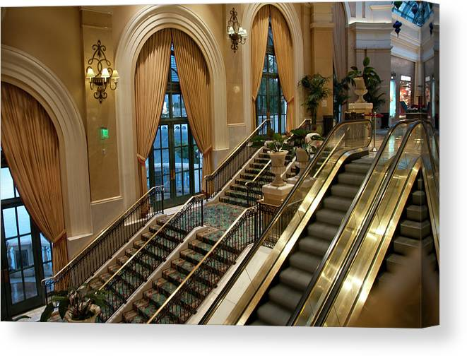 Arch Canvas Print featuring the photograph Bellagio Interior by Mitch Diamond