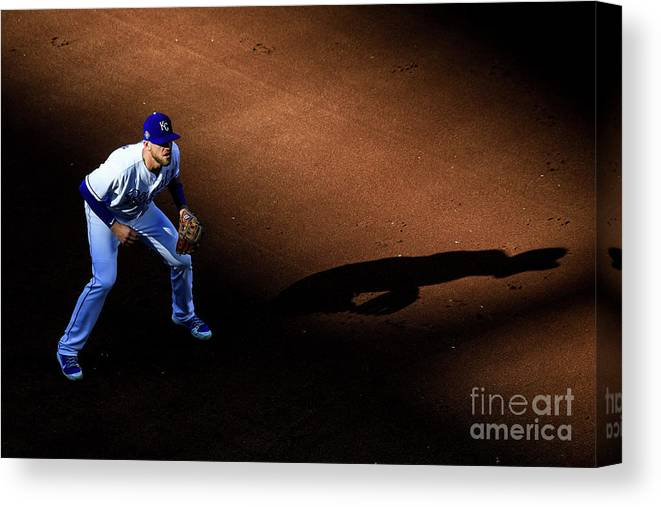 American League Baseball Canvas Print featuring the photograph Boston Red Sox V Kansas City Royals by Brian Davidson