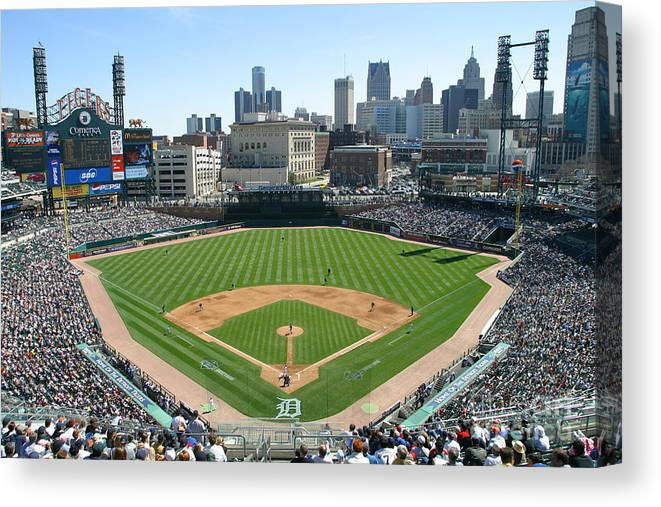 American League Baseball Canvas Print featuring the photograph Cleveland Indians V Detroit Tigers by John Grieshop