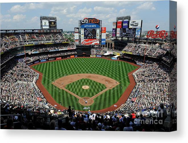 Citi Field Canvas Print featuring the photograph Colorado Rockies V New York Mets by G Fiume