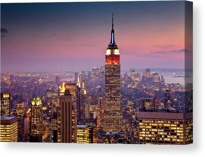 Architectural Feature Canvas Print featuring the photograph Empire State Building From Rockefeller by Richard I'anson