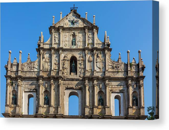 Chinese Culture Canvas Print featuring the photograph Facade Of St. Pauls Cathedrail, Macau by Stuart Dee