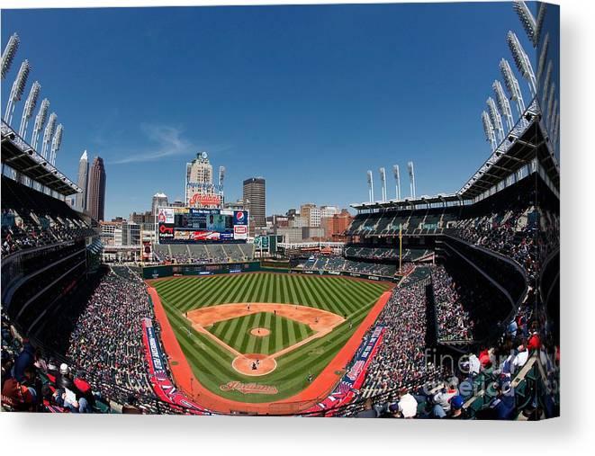American League Baseball Canvas Print featuring the photograph Kansas City Royals V Cleveland Indians by Joe Robbins