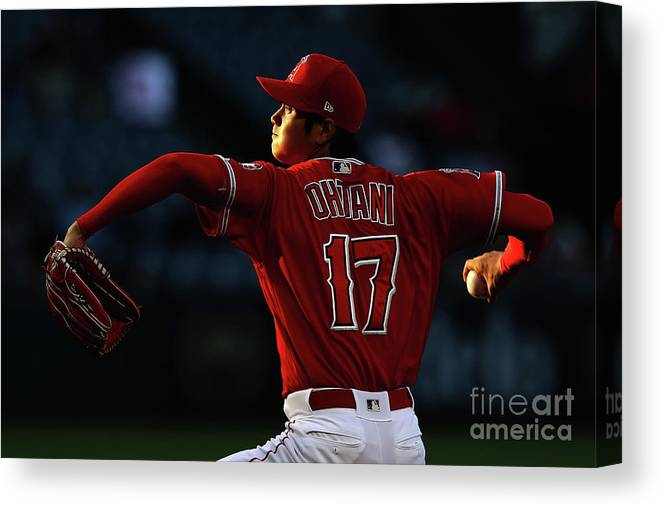 Three Quarter Length Canvas Print featuring the photograph Kansas City Royals V Los Angeles Angels by Sean M. Haffey