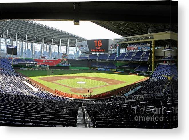 American League Baseball Canvas Print featuring the photograph Miami Marlins News Conference by Joe Skipper
