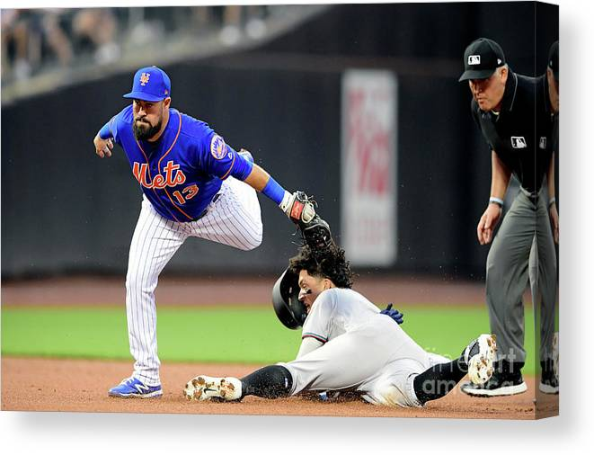American League Baseball Canvas Print featuring the photograph Miami Marlins V New York Mets - Game Two by Steven Ryan