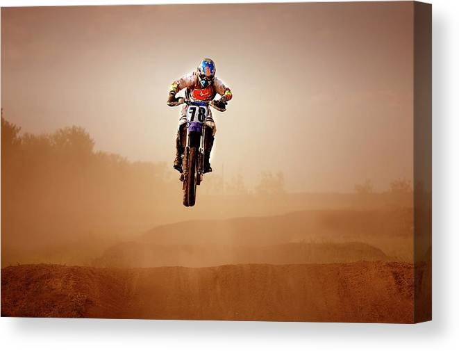 Crash Helmet Canvas Print featuring the photograph Motocross Rider by Design Pics
