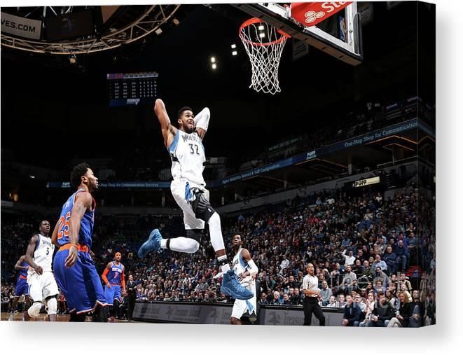 Nba Pro Basketball Canvas Print featuring the photograph New York Knicks V Minnesota Timberwolves by David Sherman