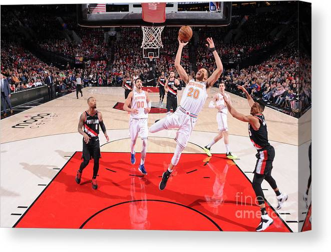 Nba Pro Basketball Canvas Print featuring the photograph New York Knicks V Portland Trail Blazers by Sam Forencich