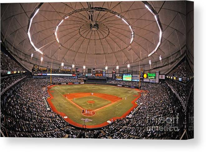 American League Baseball Canvas Print featuring the photograph New York Yankees V Tampa Bay Rays by Al Messerschmidt