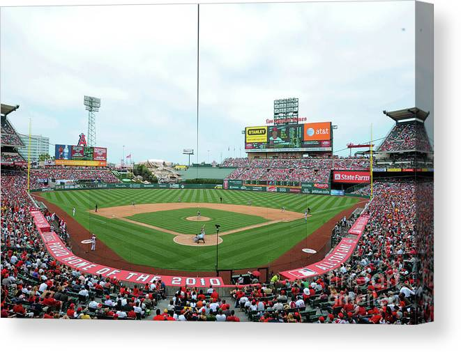 American League Baseball Canvas Print featuring the photograph Oakland Athletics V Los Angeles Angels by Rich Pilling