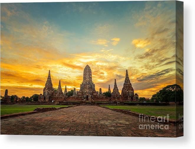 Sukhothai Canvas Print featuring the photograph Old Temple Wat Chaiwatthanaram by Santiphotoss