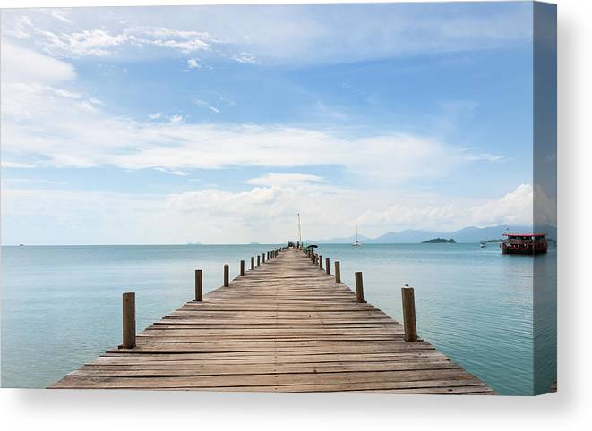 Scenics Canvas Print featuring the photograph Pier On Koh Samui Island In Thailand by Pidjoe