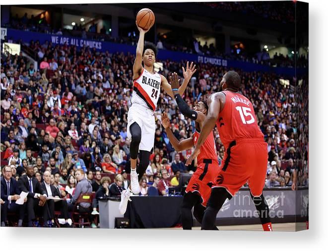 Nba Pro Basketball Canvas Print featuring the photograph Portland Trail Blazers V Toronto Raptors by Jeff Vinnick