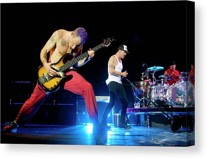 Event Canvas Print featuring the photograph Red Hot Chili Peppers Perform At O2 by Neil Lupin