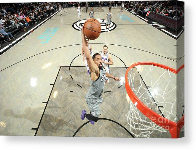 Nba Pro Basketball Canvas Print featuring the photograph Sacramento Kings V Brooklyn Nets by Nathaniel S. Butler