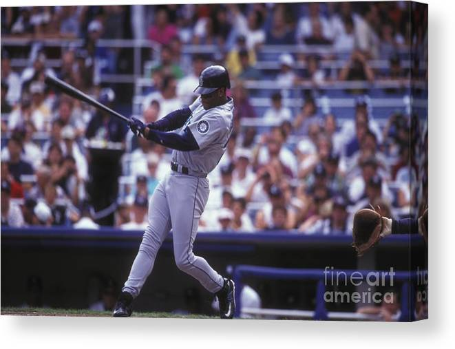 People Canvas Print featuring the photograph Seattle Mariners V New York Yankees by Mitchell Layton