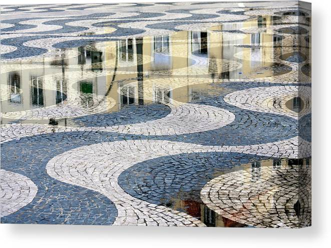 Curve Canvas Print featuring the photograph Sidewalk In Lisbon, Portugal by Typo-graphics