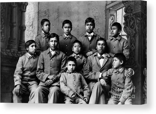 Education Canvas Print featuring the photograph Students At Carlisle Indian School by Bettmann