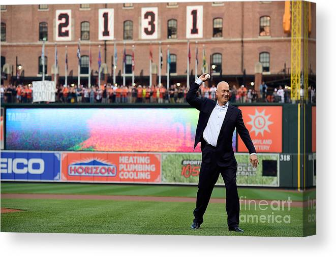 People Canvas Print featuring the photograph Tampa Bay Rays V Baltimore Orioles by Patrick Mcdermott