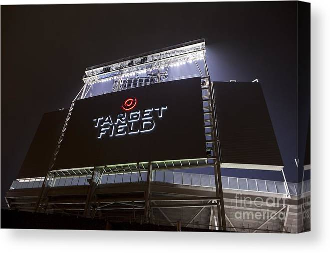 American League Baseball Canvas Print featuring the photograph Target Field Previews by Wayne Kryduba