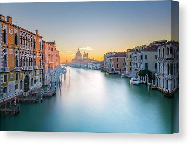 Panoramic Canvas Print featuring the photograph View From Accademia Bridge On Grand by Dietermeyrl