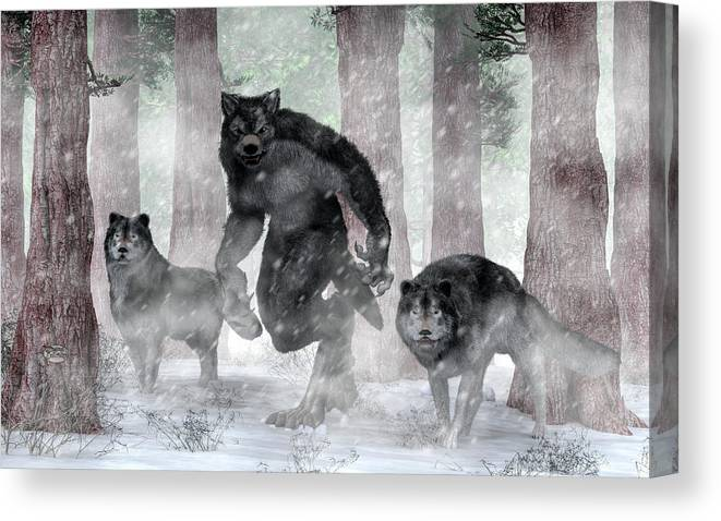 Werewolf And Wolves Canvas Print featuring the painting Werewolf And Wolves by Daniel Eskridge