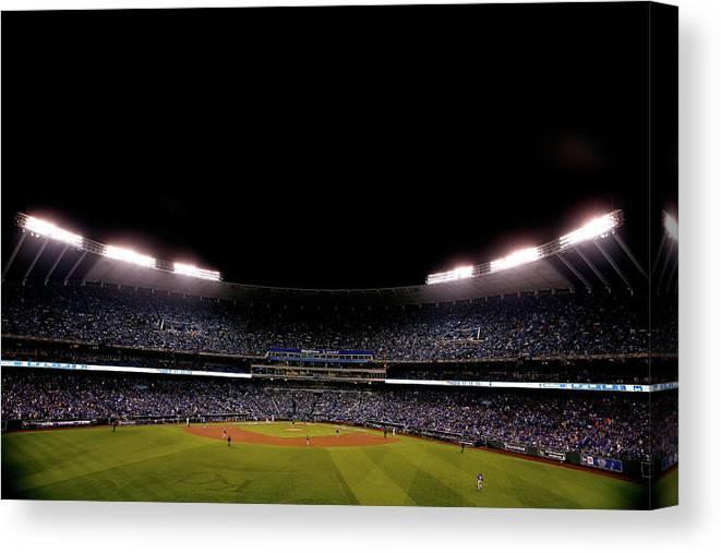 American League Baseball Canvas Print featuring the photograph World Series - New York Mets V Kansas by Christian Petersen