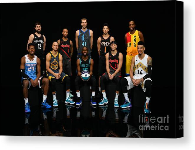 Kemba Walker Canvas Print featuring the photograph 2019 Nba All Star Portraits by Jesse D. Garrabrant
