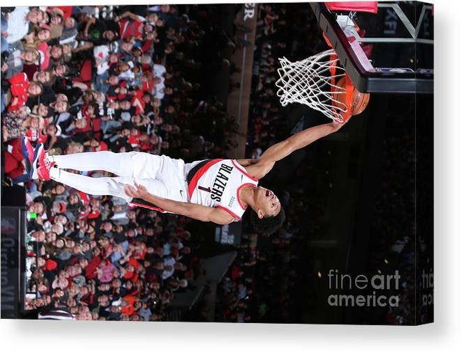 Nba Pro Basketball Canvas Print featuring the photograph Denver Nuggets V Portland Trail Blazers by Sam Forencich