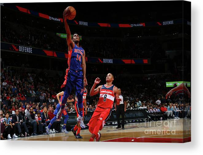 Nba Pro Basketball Canvas Print featuring the photograph Detroit Pistons V Washington Wizards by Ned Dishman