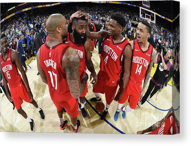 Nba Pro Basketball Canvas Print featuring the photograph Houston Rockets V Golden State Warriors by Andrew D. Bernstein