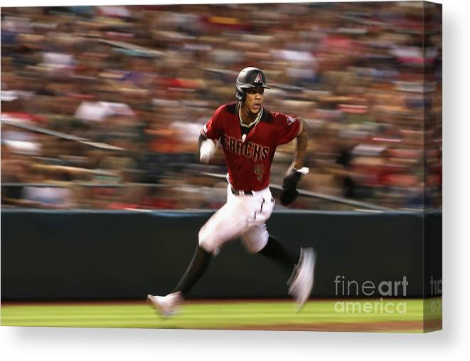 People Canvas Print featuring the photograph Milwaukee Brewers V Arizona Diamondbacks by Christian Petersen