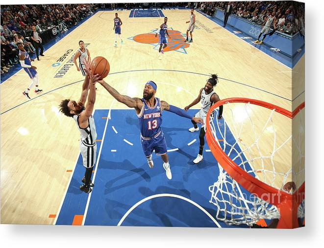 Nba Pro Basketball Canvas Print featuring the photograph San Antonio Spurs V New York Knicks by Nathaniel S. Butler