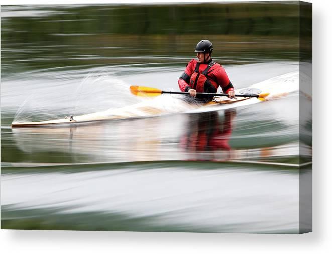 Sports Helmet Canvas Print featuring the photograph Cedar Strip Kayak by Steve Glass