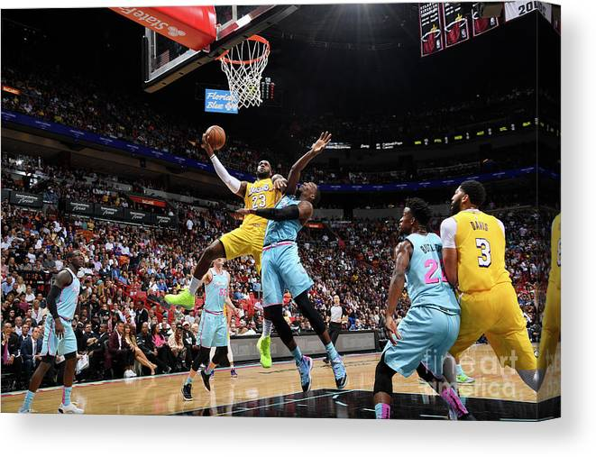 Nba Pro Basketball Canvas Print featuring the photograph Lebron James by Brian Babineau