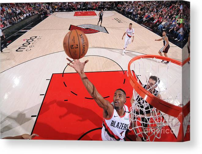Moe Harkless Canvas Print featuring the photograph San Antonio Spurs V Portland Trail by Sam Forencich