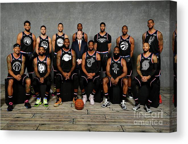 Nba Pro Basketball Canvas Print featuring the photograph 2019 Nba All Star Portraits by Jesse D. Garrabrant