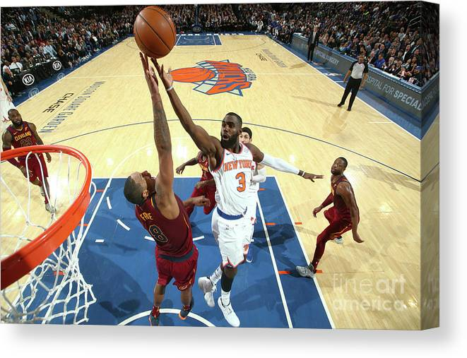 Tim Hardaway Jr. Canvas Print featuring the photograph Cleveland Cavaliers V New York Knicks by Nathaniel S. Butler