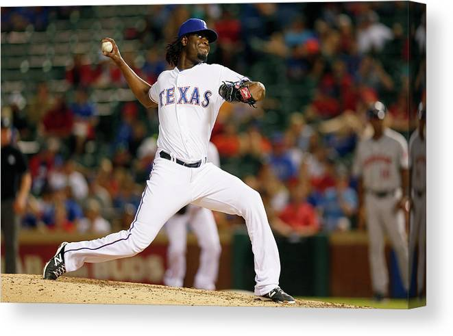 American League Baseball Canvas Print featuring the photograph Houston Astros V Texas Rangers by Tom Pennington