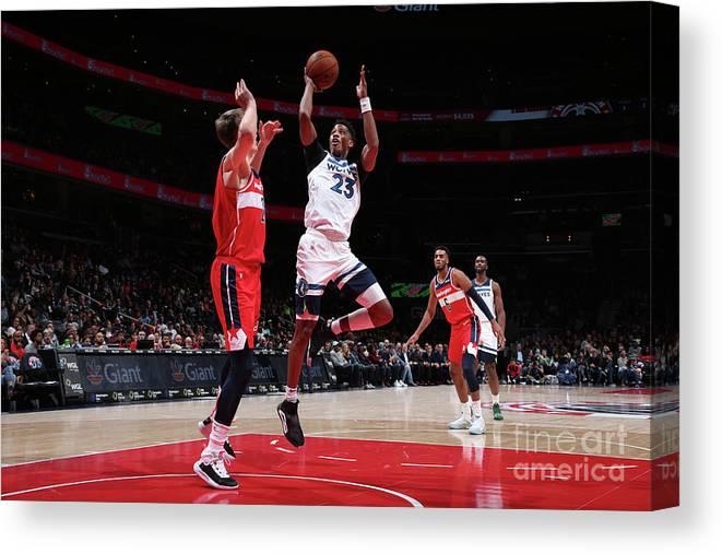 Nba Pro Basketball Canvas Print featuring the photograph Minnesota Timberwolves V Washington by Ned Dishman